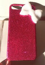 3D bow iPhone 7 and 8 case crystals glitter bling pearls Hot Rose Pink
