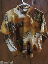 Vintage Kai Nani Hawaii Top Bat Sleeves Mandrian Collar Cocoa Palm M/L