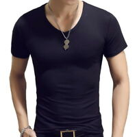 Men's Casual Round Neck cotton T-shirt Slim Fit Short Sleeve Solid Color Tee Top
