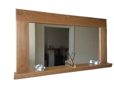 *Beautiful Quality Handmade Solid Oak Wooden Mirror With Shelf*