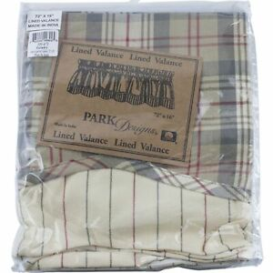 """Gentry Plaid Lined Layered Valance 72"""" x 16"""" Kitchen Park Designs Tan Red Gray"""