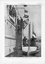 Président Paul Kruger à Marseille à Bord du Gelderland GRAVURE 1900