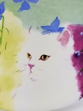 Rare Vintage 1985 Minou-ettes Collection Coeur Golden-eyed White Cat Quadro/Mint