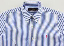 Men's RALPH LAUREN Light Blue White Stripe Striped Shirt Medium M NWT NEW Nice!