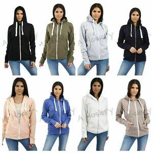 Ladies Womens Plain Coloured Hoodie Zip Up Fleece Hooded Sweatshirt Jacket Tops