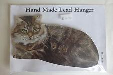 Cat Key Hook Holder Hanger Wooden Wall Mounted LONG HAIRED TABBY