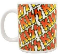 KISS Band Repeated Logo Mug Cup White Rock Official Merchandise