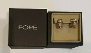 FOPE Virginia 18ct Gold Earrings with Pave Set Diamond Roundels OR563 BBR