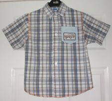 Boys short-sleeved grey, blue & white cotton shirt from Adams, age 6 yrs(116cm)