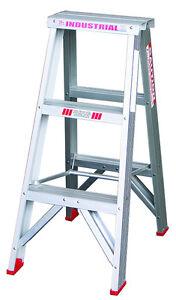 INDALEX Tradesman Aluminium Double Sided Step Ladder 3ft 0.9m