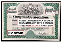 RARE ORIG SUPER CRISP CHRYSLER STOCK SIGNED BY LEE IACCOCA! ONLY HERE! READ DEAL