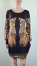 Womens Party Evening Cocktail Designer Inspired Animal Tunic Dress sz M AW67
