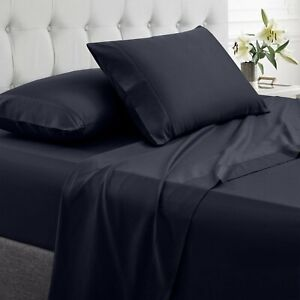 1500TC Egyptian Comfort Black 4 Piece Queen Bed Sheets Double Brushed Microfiber