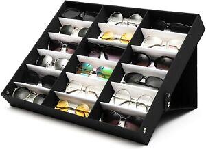 18 Slot Sunglasses Eyeglass Display Box Glasses Case Organizer Stand Holder
