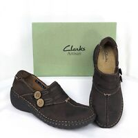 Clarks Artisan Womens Shoes 7.5M Inca Joan Comfort Slip On Nubuck Leather Brown