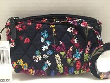 Vera Bradley Mirror Cosmetic Case In MIDNIGHT WILDFLOWERS -Mirror Attached  NWT