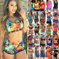 Womens Tankini Set w/ Boy Shorts Push Up Bikini Sporty Swimsuit Swimwear Bathing