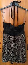 Lipsy 12 Black & Leopard Print Dress Sheer Layer Skirt Black Satin Bust Halter