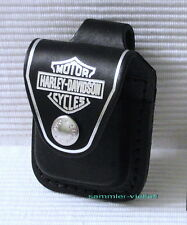 ZIPPO TASCHE Harley Davidson in SCHWARZ Echtes Leder!! Mit Loop u. Logo  NEU OVP