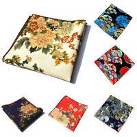 Men Stylish Flower Floral Pocket Square Cotton Hanky Wedding Party Handkerchief