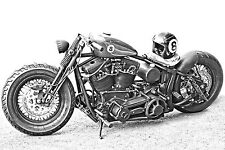 STUNNING CANVAS VINTAGE HARLEY MOTORCYCLE #840 WALL HANGING PICTURE ART A1