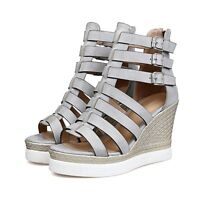 Gladiator Sandals Women Roma Strappy Platform Wedge High Heels Buckle Shoes