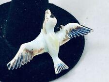 VTG. BLUE & CREAM ENAMEL GOLD TONE SPIRIT/SPARROW BIRD BROOCH