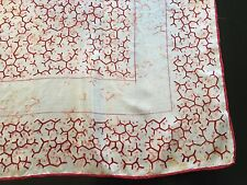 VTG MENS THIN SILK GEOMETRIC PINK AND RED PRINT POCKET SCARF 18""