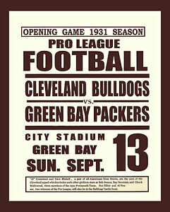 1931 Green Bay Packers v Cleveland Bulldogs Game Advertising Poster - 8x10 Photo