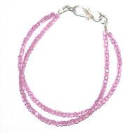 "Pink Zircon Stone 925 Sterling Silver 2 Layer Bracelet 5-10"" Round Beads TFF2144"