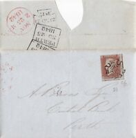 1842 QV LONDON MX MALTESE CROSS ON COVER WITH A 3 MARGIN 1d RED STAMP PLATE 21