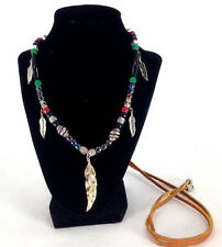 Artisan Leather Beaded Necklace Metal Leaf Charms Bohemian Hippie Style