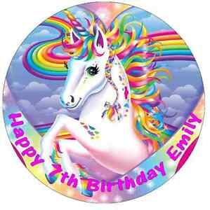 """Unicorn Horse Personalised Birthday Cake Topper Edible 7.5"""" Wafer Cake Toppers"""