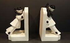 Outstanding Vintage French Harlequin Clown Bookends / No Chips!