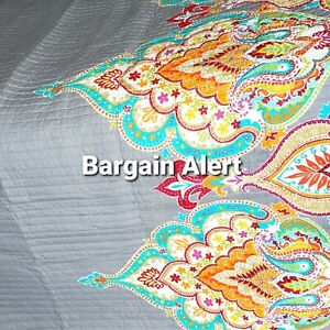 Moroccan Bohemian Full/Queen Quilt Gray Teal Orange White Tan Red Floral No Sham
