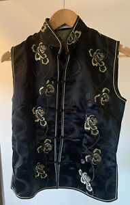 CHINESE WAISTCOAT STYLE TOP  BLACK AND FOLD FLOWERS
