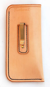 Turtlecreek Natural Leather Eyeglass Case with Clip - Large Size