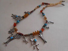 Bold Southwest Polished Gems Sterling Silver Turquoise  Charms Necklace 400.060