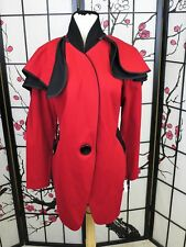 NWT Design Today's Size XL Red Black Trim Long Jacket Detachable Cape Orig $298