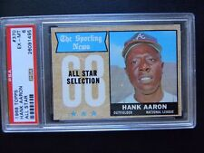 1968 HANK AARON ALL-STAR TOPPS BASEBALL CARD #370  PSA 6  EX-MT