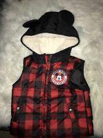Disney Mickey Mouse Hooded Puffer Vest Coat Black/Red Plaid Size 24 Months