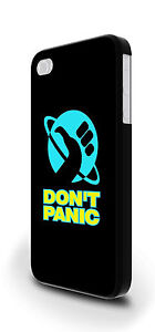 Black Don't Panic Hitchhicker Cover Case for iPhone 4/4s 5/5s 5c 6 6 Plus