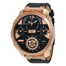 Diesel Timeframe Black Dial Pink Gold-tone Mens Watch DZ7380