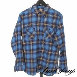 #1 MENSWEAR Sugar Cane Made in Japan Aqua Blue Gold Plaid Flannel Grunge Shirt L