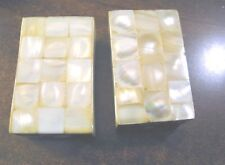 Mother of Pearl Abalone Shell Salt Pepper Shakers by Two's Company Rectangular