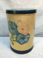 """Vtg 1951 Wise Potato Chips 11"""" Tin  Floral Morning Glory Flowers 1950s (NICE)"""