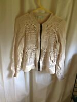 Womens Maurices Beige Lace Zip Up Light Top Jacket Size S