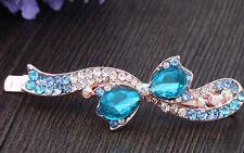 DH101 Women Crystal Hair Clip Size L 6 cm x W 2.5cm Blue Color
