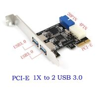 Dual Ports PCI-E to USB 3.0 HUB PCI 19pin Express Expansion Header Card Adapter