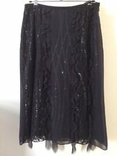 Whistles (Vintage) BLACK LACE SILK SKIRT with sequins SIZE 8